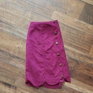 Magenta Suede Skirt